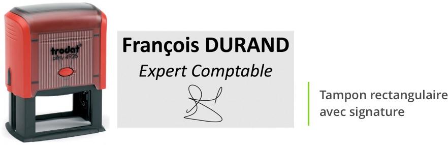 Tampon encreur avec signature rectangulaire: exemple de mentions légales et informations obligatoires